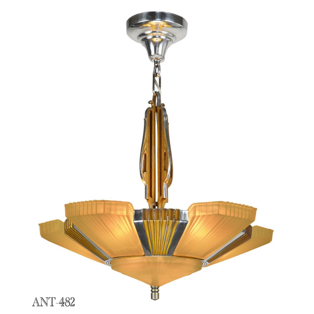 Art Deco Streamline Antique Chandelier By Early Modernist