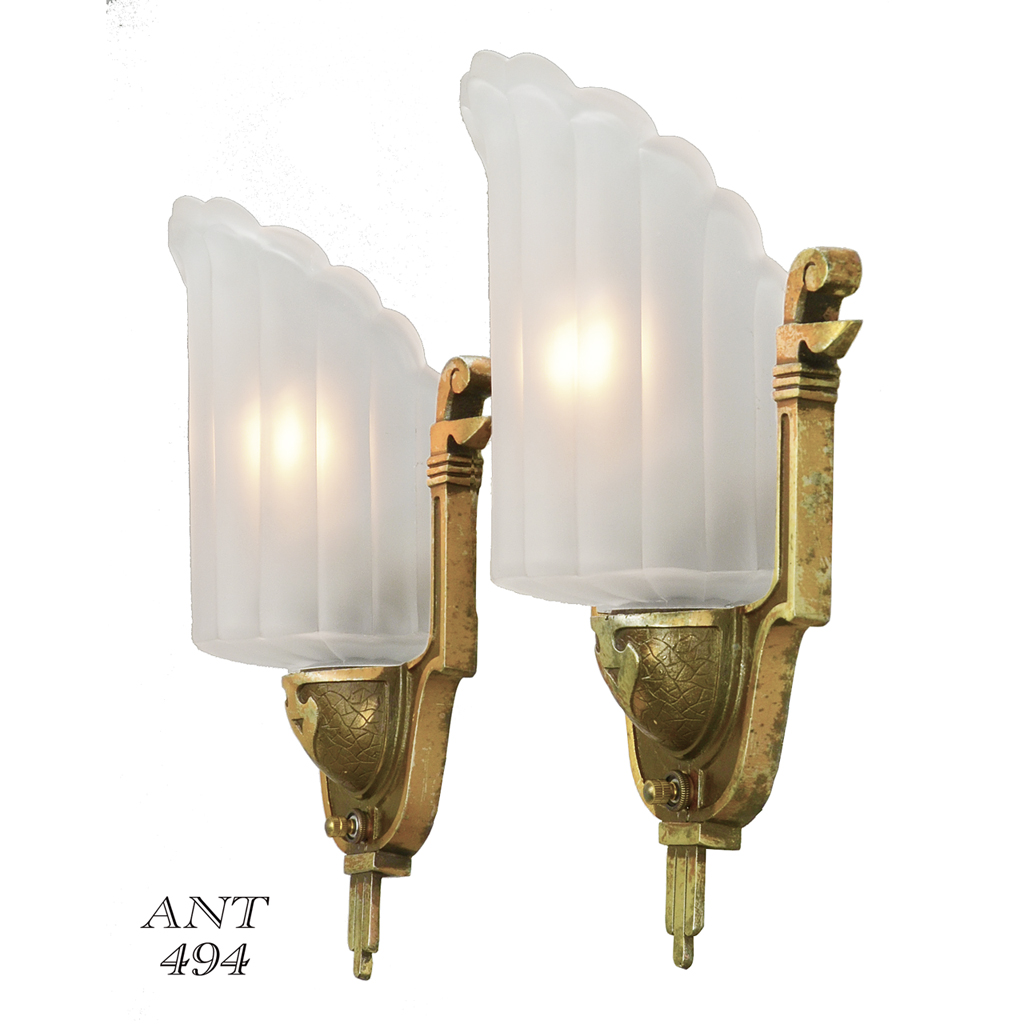 Antique Art Deco Wall Sconces by Mid-West Circa 1935 Slip Shade Lights (ANT-494) For Sale ...