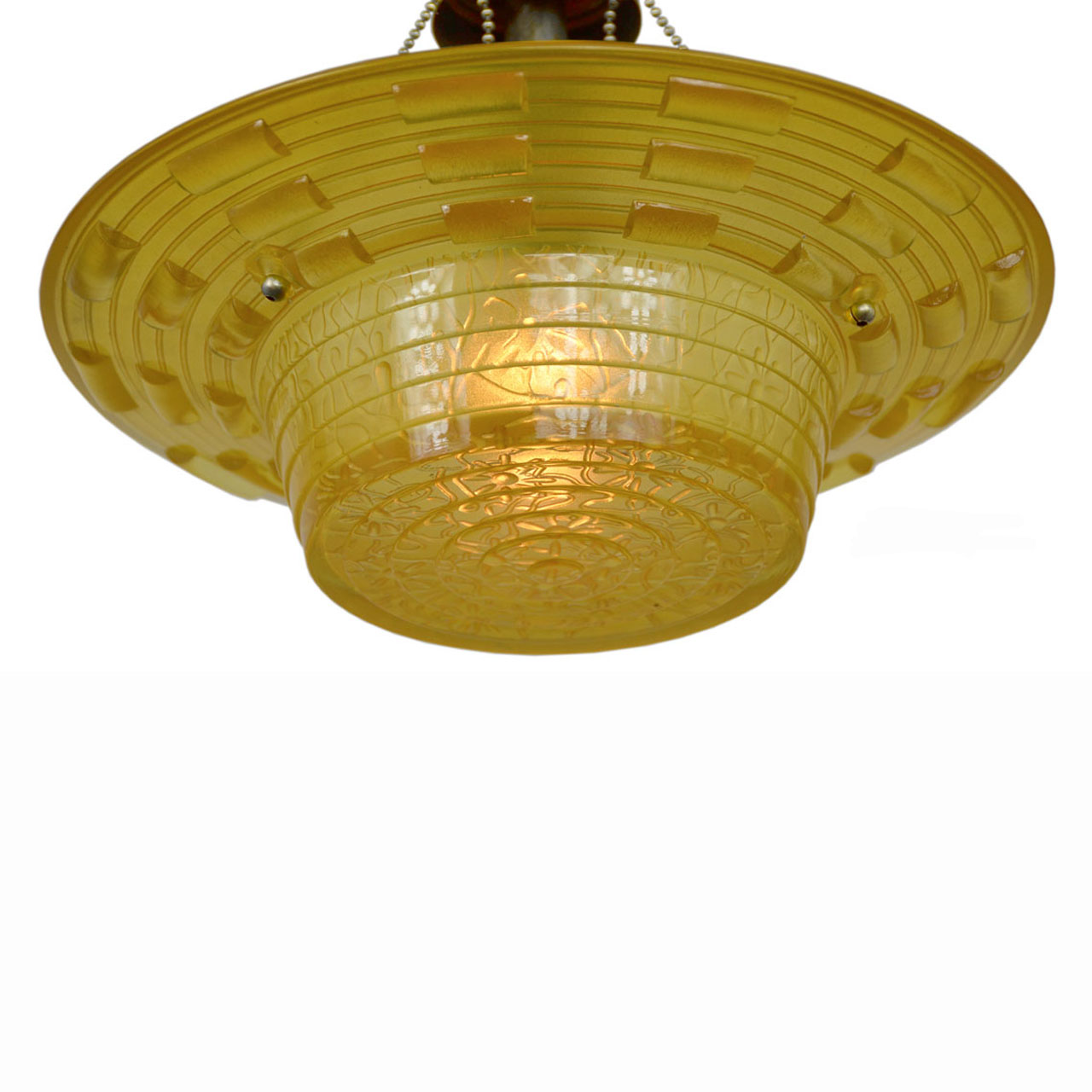 Antique Amber Glass Art Deco Bowl Shade Ceiling Light