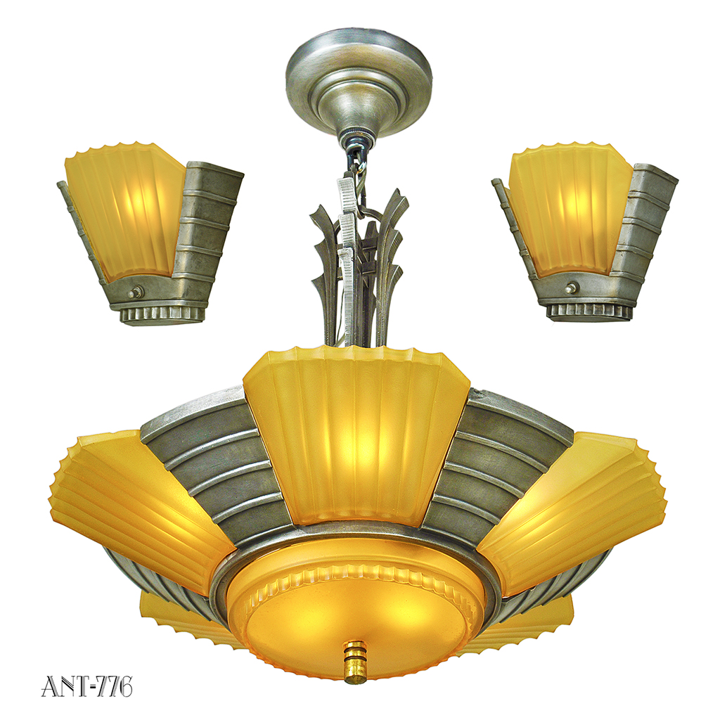 Art Deco Streamline Matching Set Antique Chandelier and Wall Sconces (ANT-776) For Sale ...