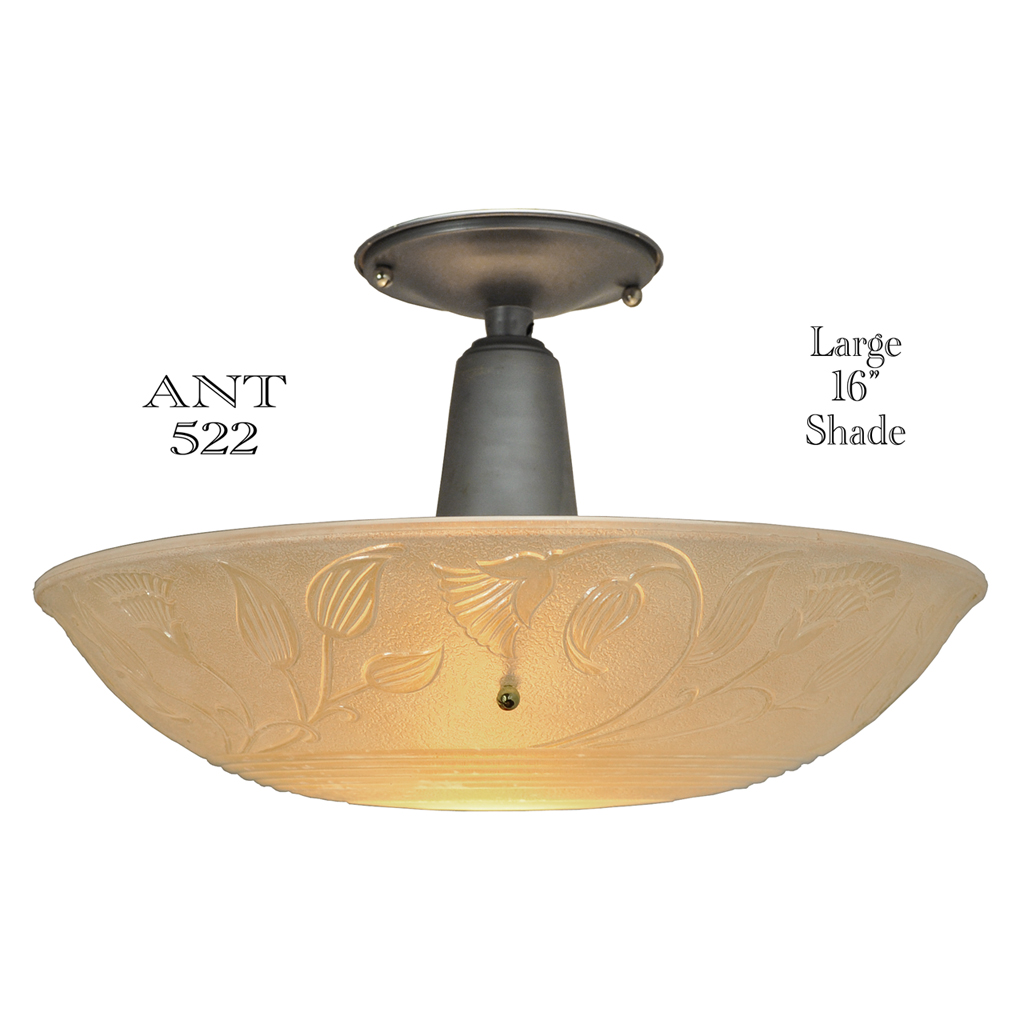 large antique ceiling bowl light fixture with 16 diameter lens shade