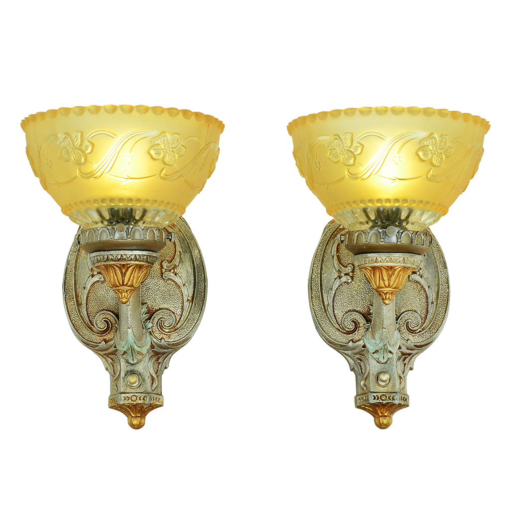 Antique Pair Rewired Wall Sconces Turn Of The Century