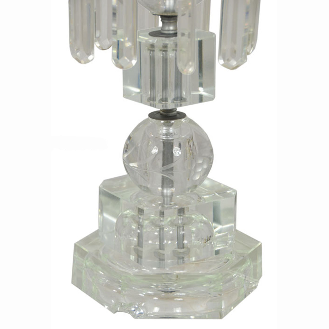 Outstanding Pair Of Period Edwardian Cut Crystal Hurricane Table Lamps  (ANT 380)   For Sale