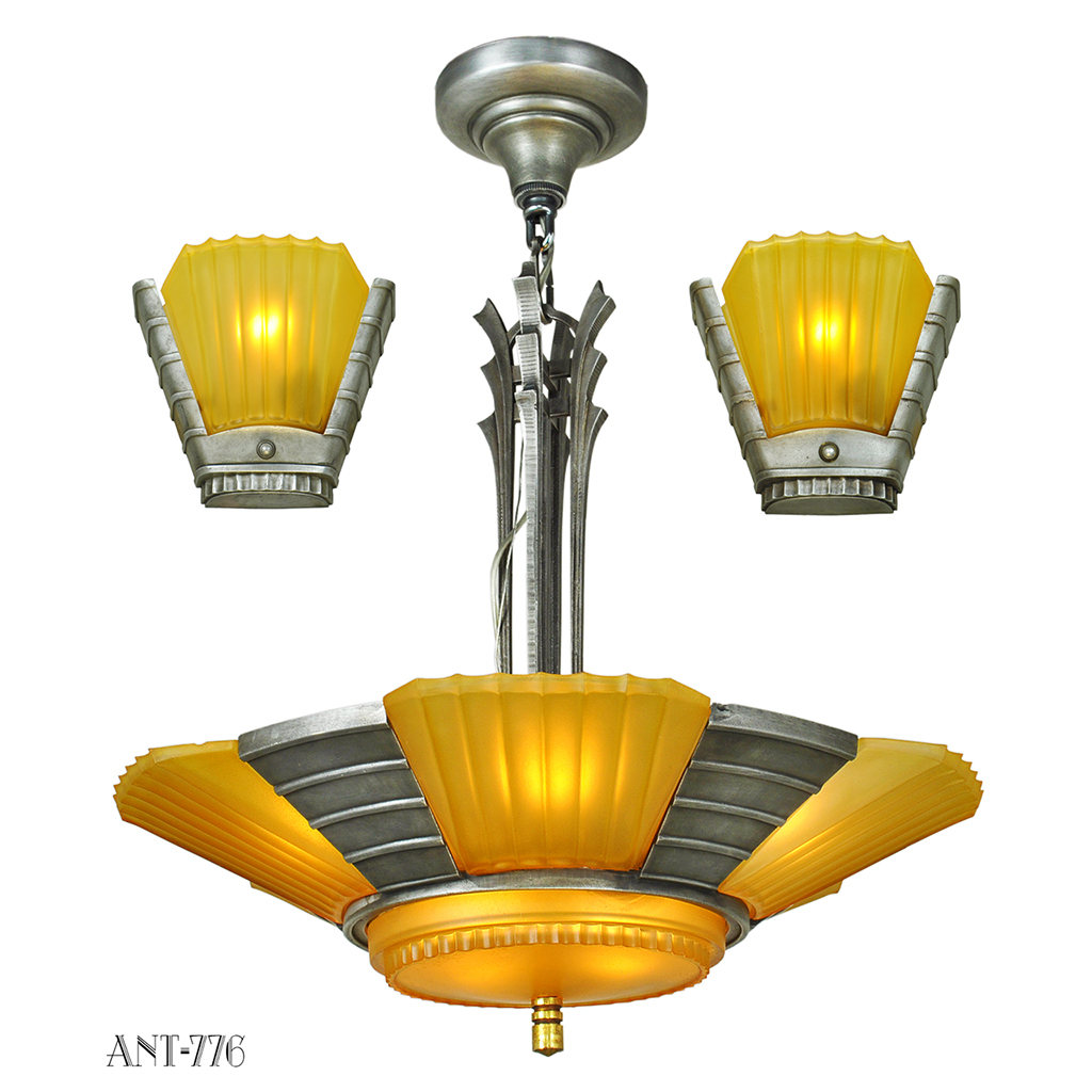 Do Wall Sconces Have To Match Chandelier : Art Deco Streamline Matching Set Antique Chandelier and Wall Sconces (ANT-776) For Sale ...