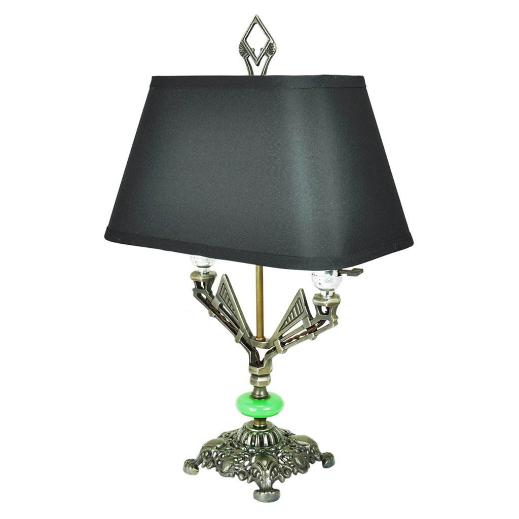 art deco table lamp antique 2 bulb light with jadeite glass accent ant 803 for sale antiques. Black Bedroom Furniture Sets. Home Design Ideas