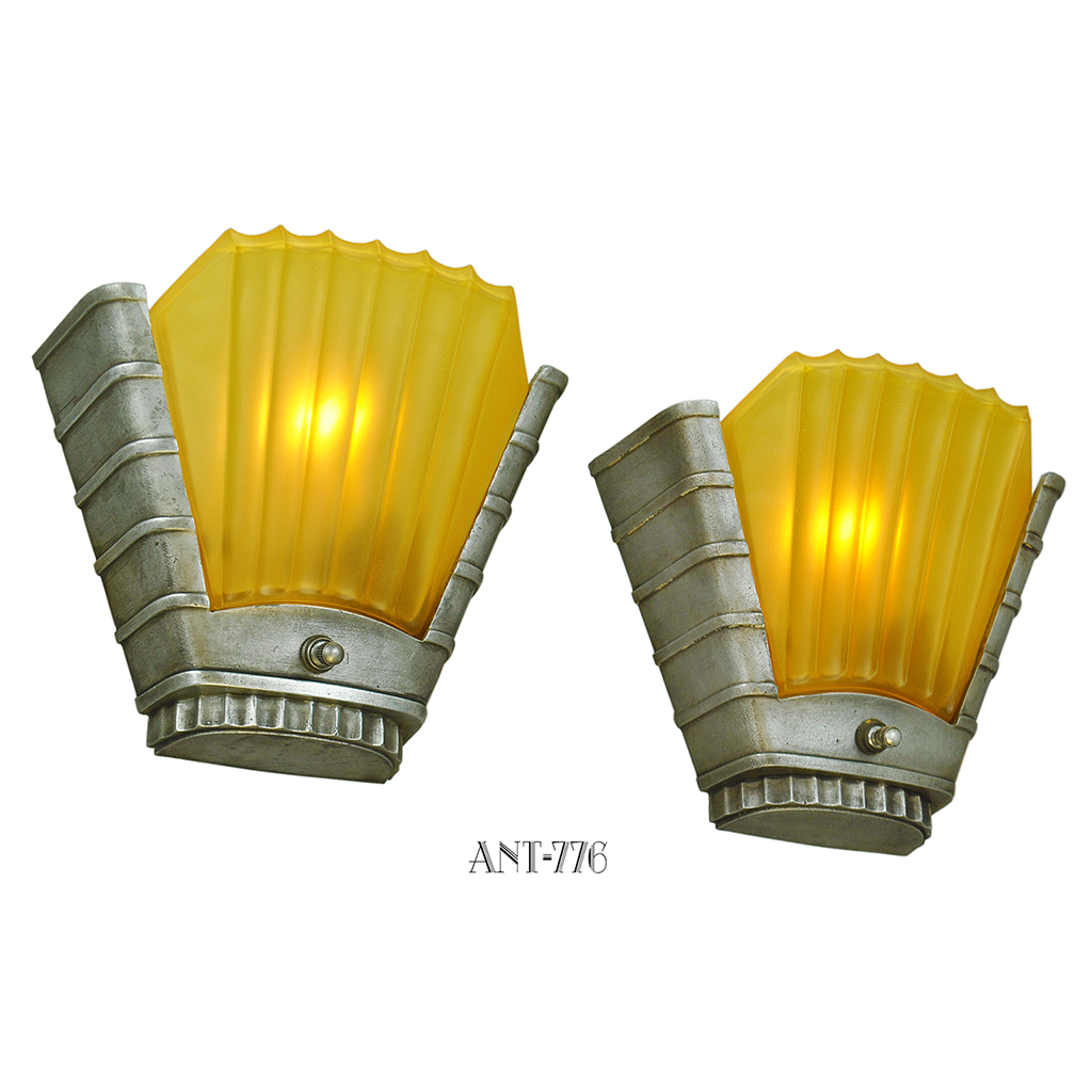Wall Sconces With Matching Chandelier : Art Deco Streamline Matching Set Antique Chandelier and Wall Sconces (ANT-776) For Sale ...