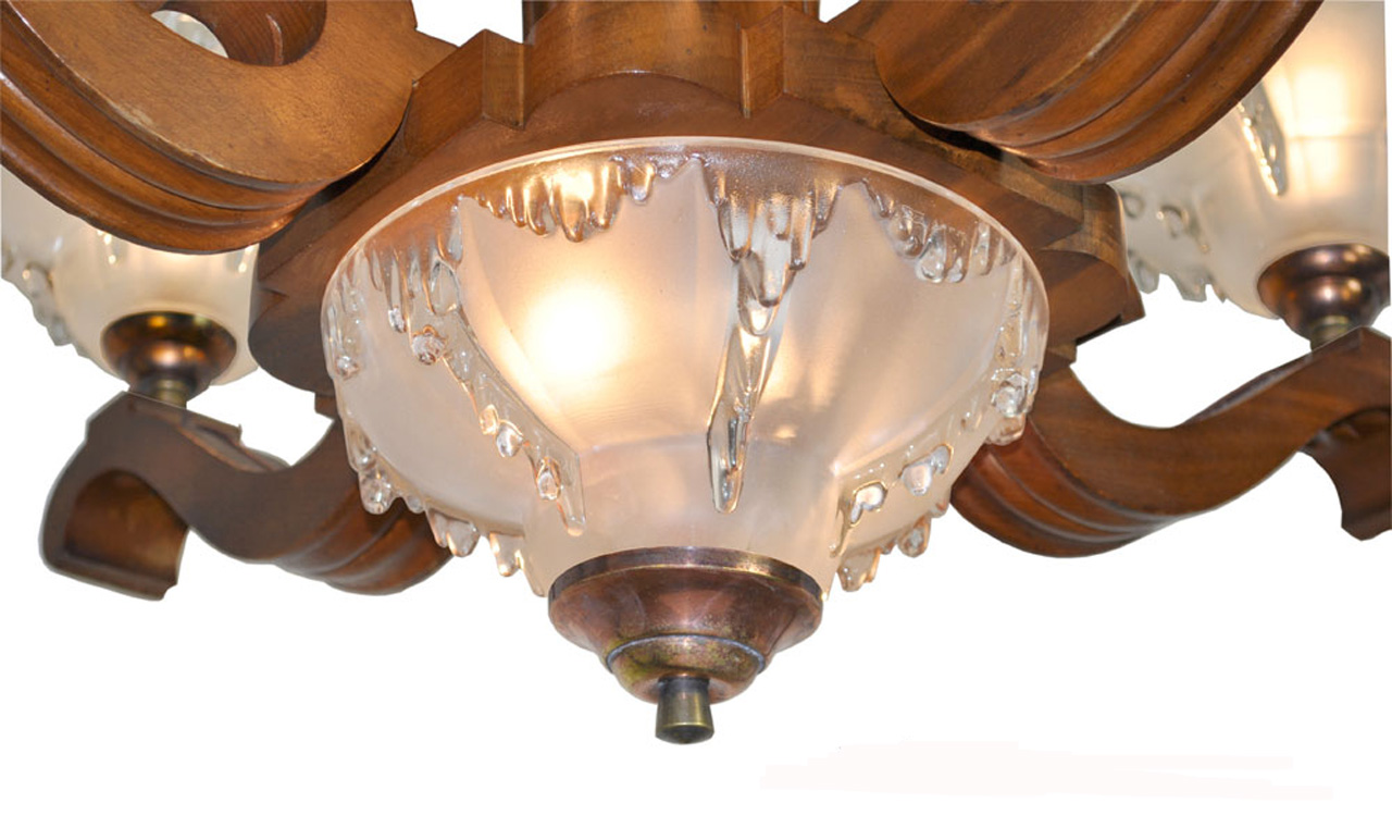 Art Deco French Ezan Style Icicle Chandelier with 4 Arm Wooden Body  (ANT-389) - For Sale - Art Deco French Ezan Style Icicle Chandelier With 4 Arm Wooden Body