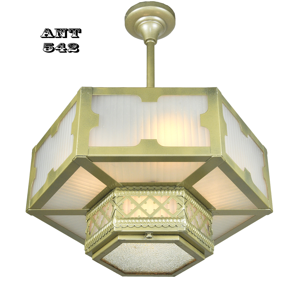 Arts And Crafts Gothic Style Hexagonal Ceiling Panel Light