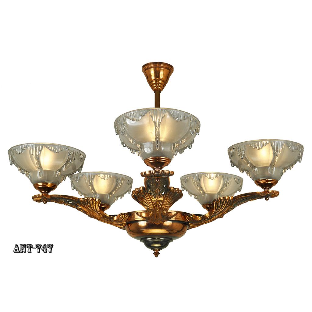 Antique Art Deco French Chandelier Ezan Icicle Light