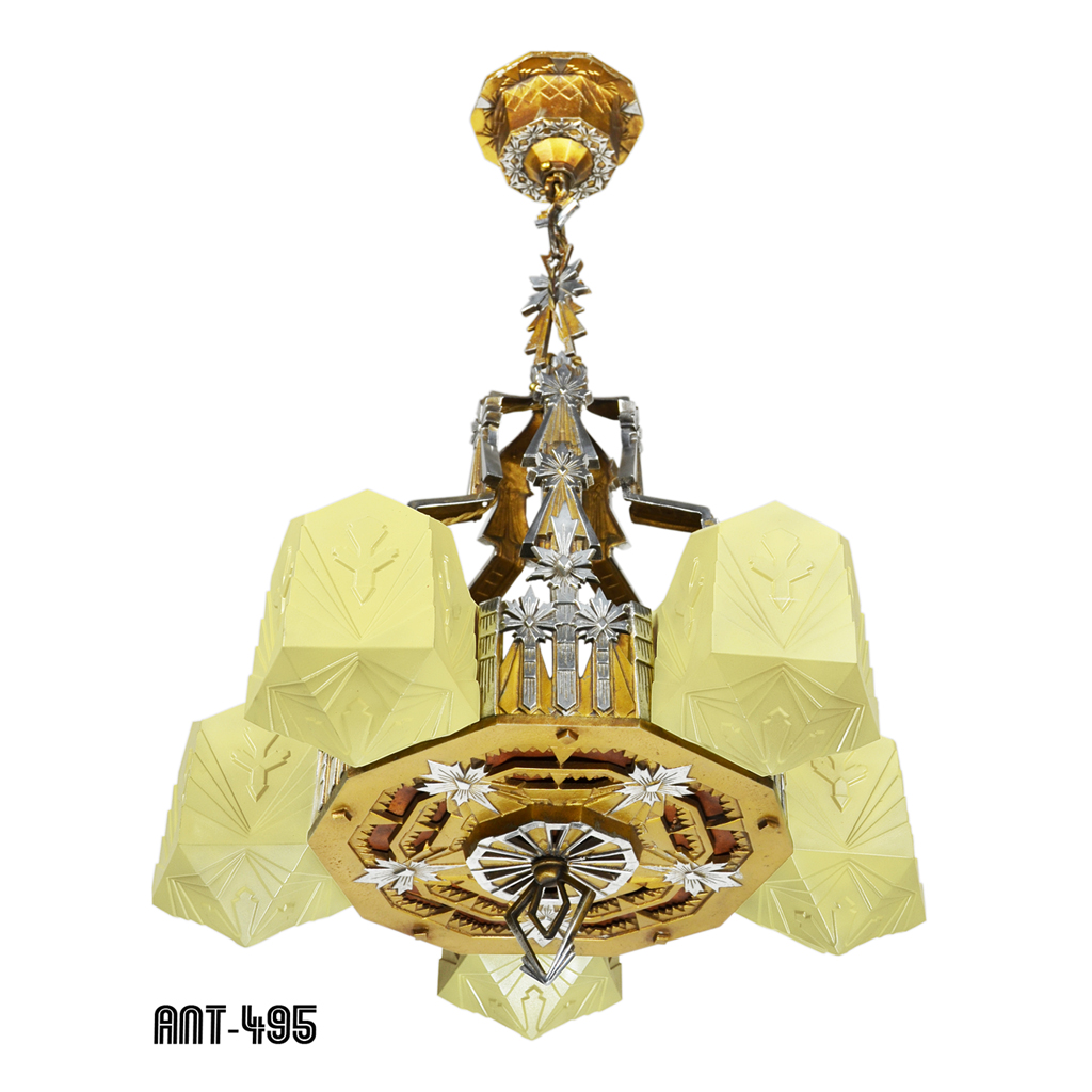 Rare design art deco antique slip shade chandelier circa 1935 by the most over used word in the antique trade is the word rare it is so overused for common things that when an authentic rare item comes along arubaitofo Image collections