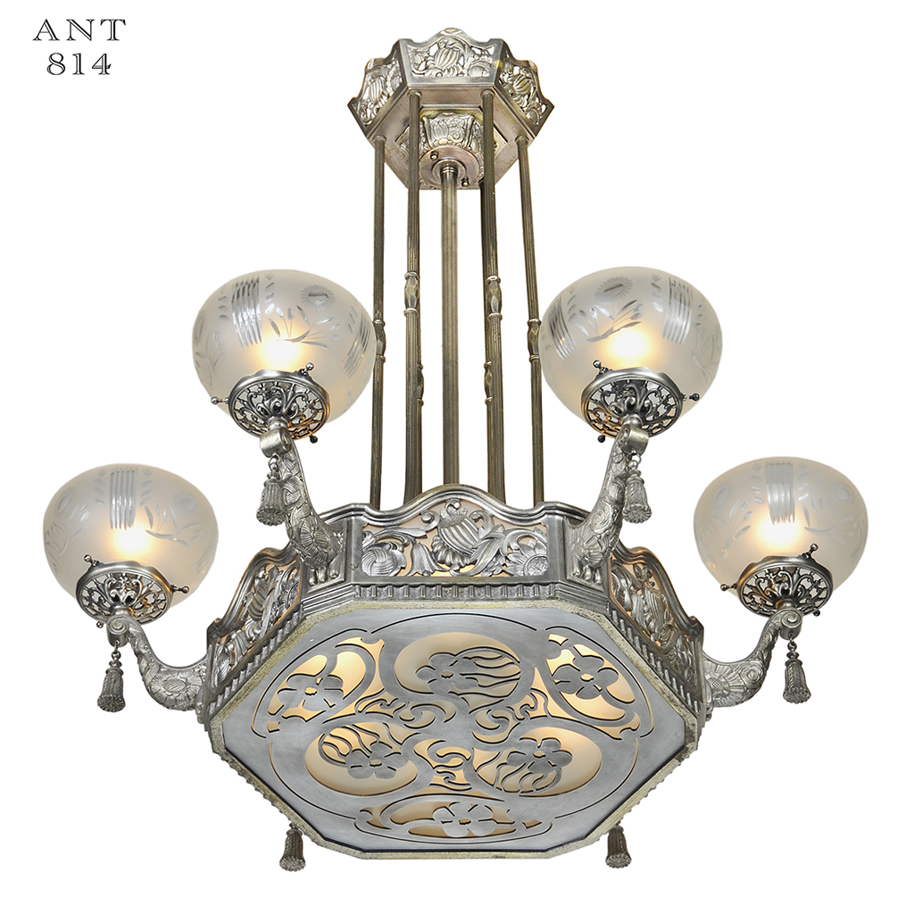 Art nouveau or deco french chandelier antique ceiling for Art nouveau lighting fixtures