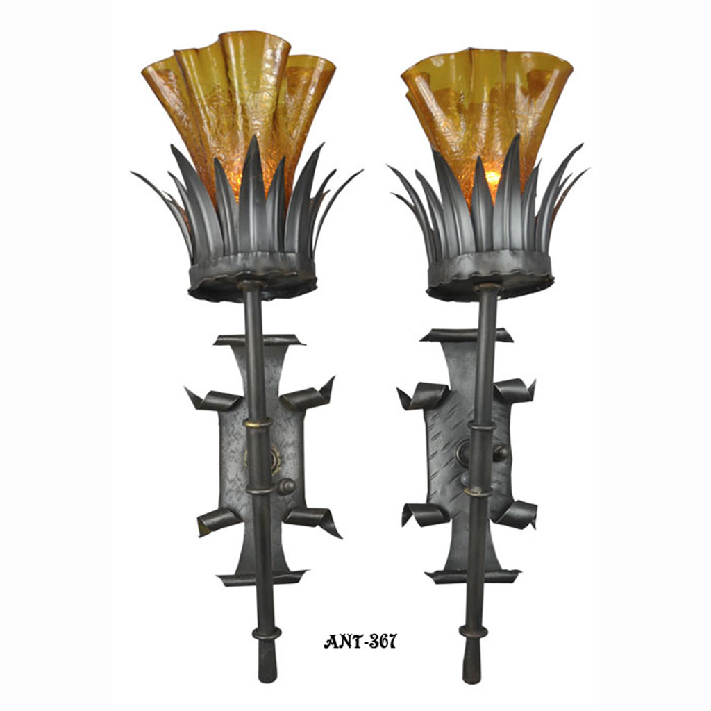 Antique Gothic Wall Sconces : Antique Pair Gothic Torch Style Wall Sconce Lights Circa 1920 - 1930 (ANT-376) For Sale ...
