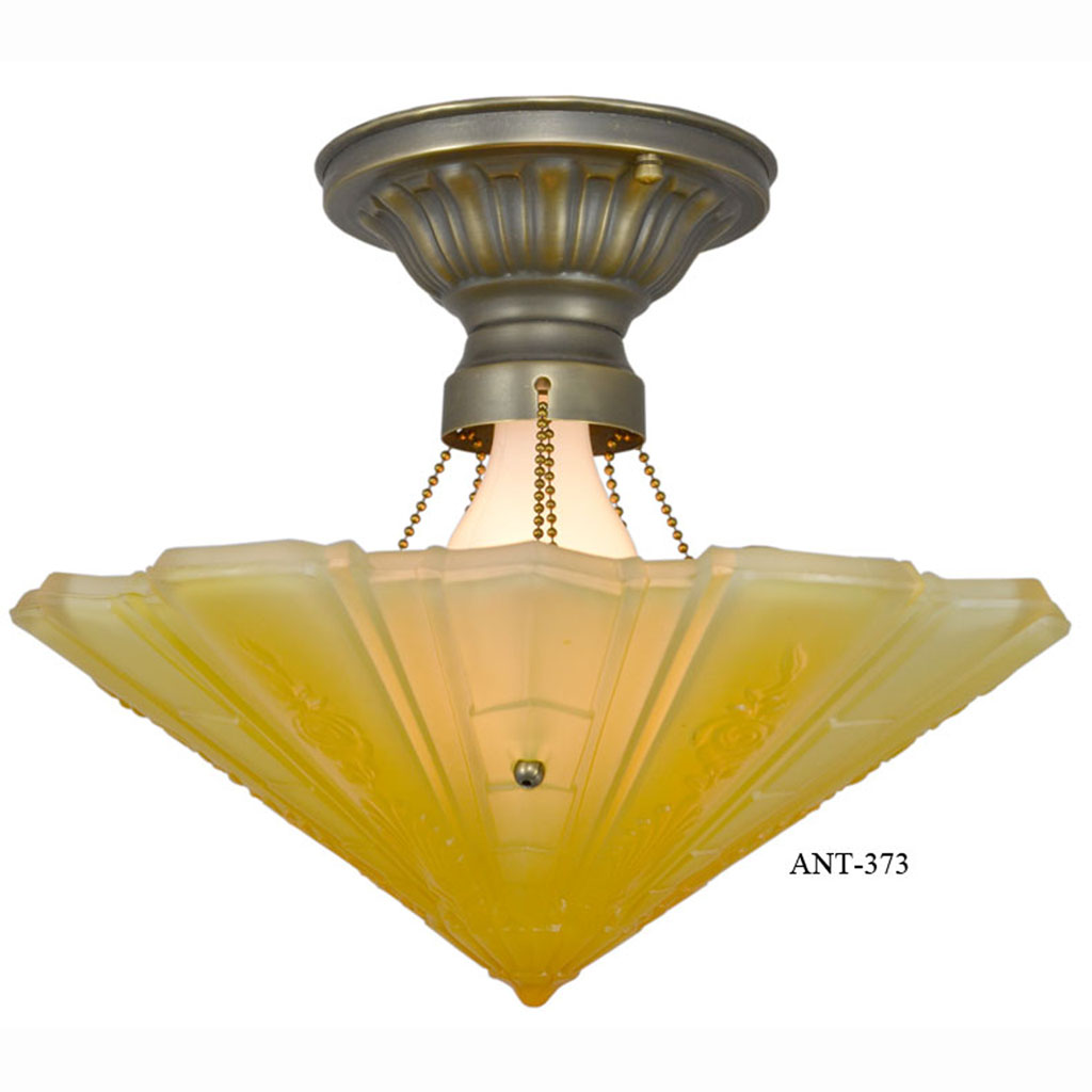 Antique impressed glass art deco bowl shade ceiling light fixture antique impressed glass art deco bowl shade ceiling light fixture by frankelite consolidated glass mnf co ant 373 for sale arubaitofo Choice Image
