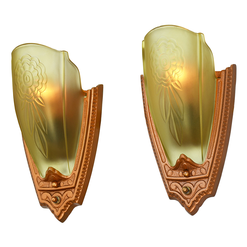 1930s Pair Art Deco Wall Sconces Glass Slip Shade Lights