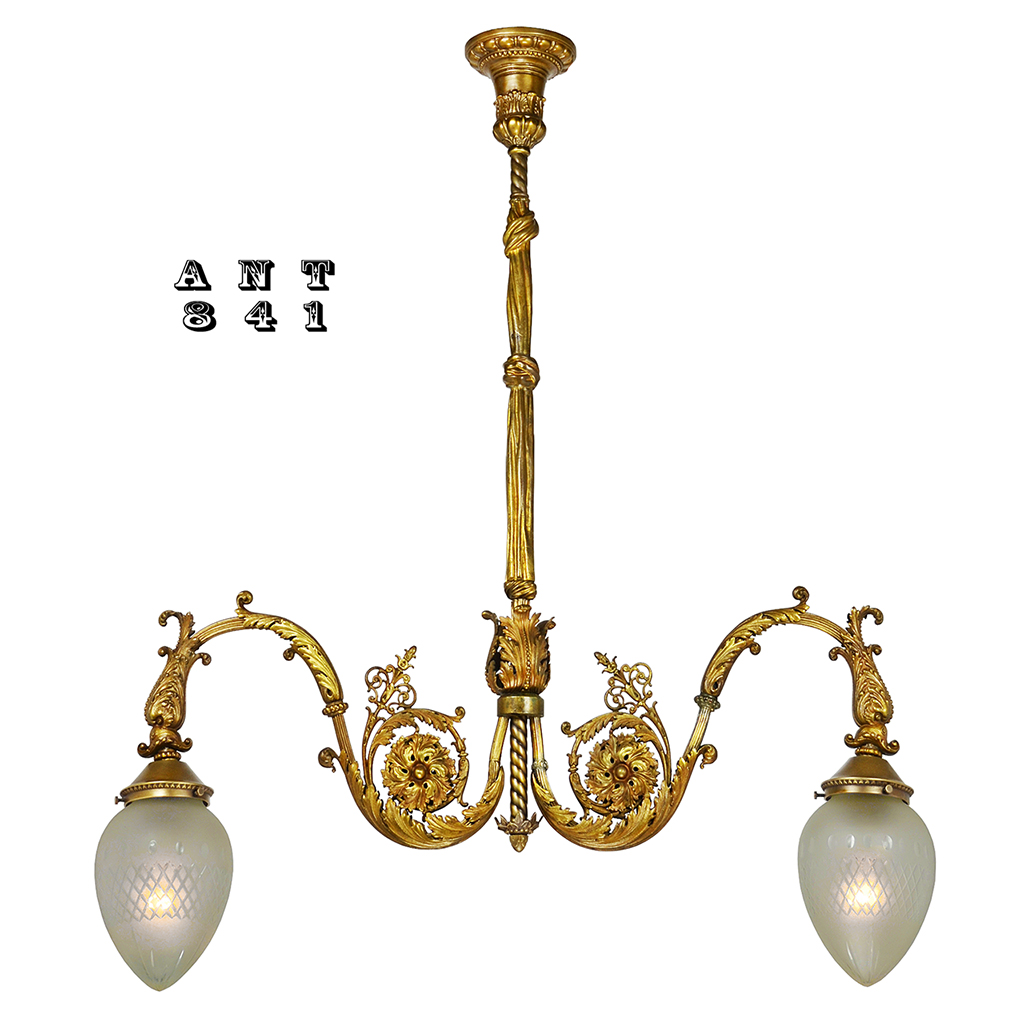 Antiques directories resources antique brass 2 arm hall pendant light neo rococo victorian edwardian ant 841 arubaitofo Choice Image