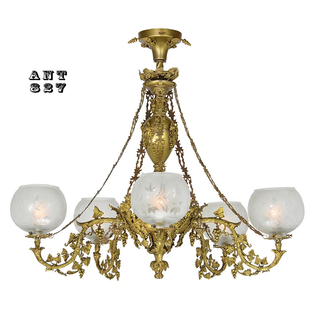 Antique victorian rococo 5 arm gas chandelier 1840 cornelius circa 1840 cornelius 5 light gas chandelier converted to electricity arubaitofo Images
