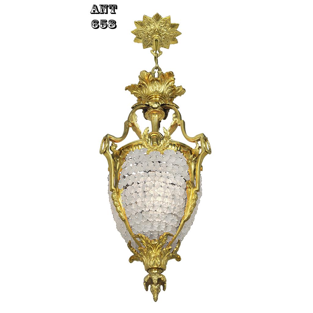 Victorian French Pendant Ceiling Light Beaded Glass Flower