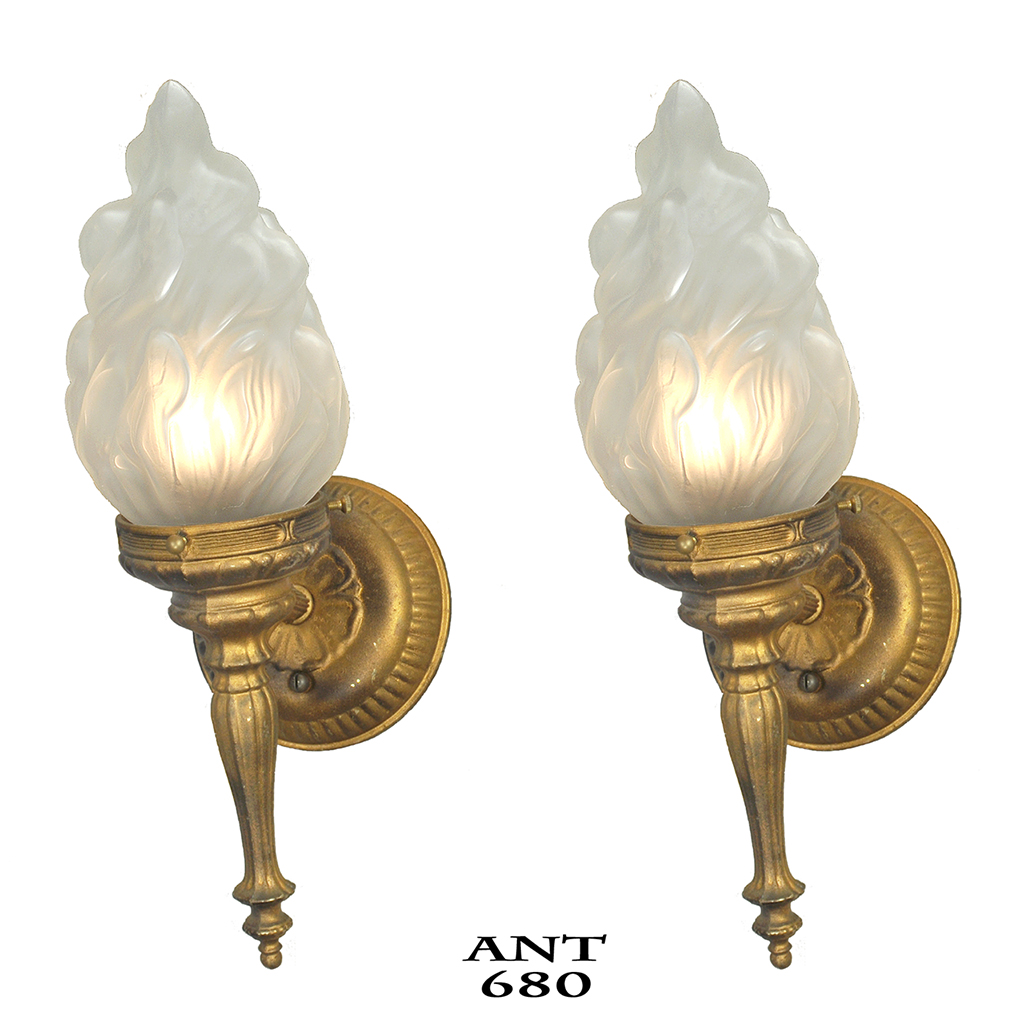 Flame Torch Style Wall Sconces Old Gold Color Vintage