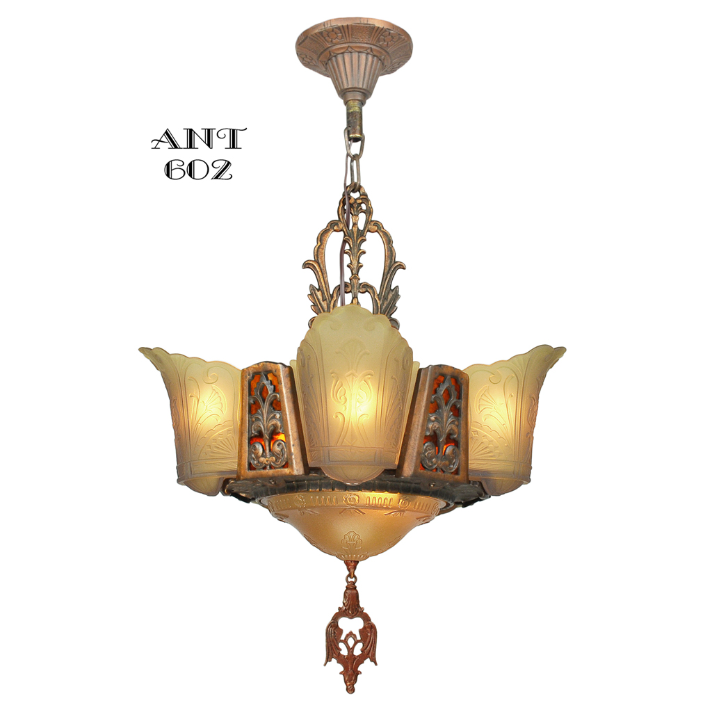 art deco chandelier 6 light ceiling fixture amber color slip shades ant 602 for sale. Black Bedroom Furniture Sets. Home Design Ideas