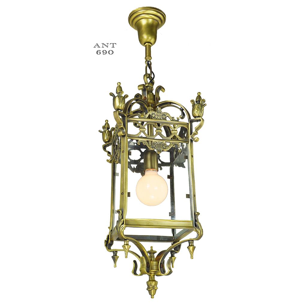 Antique pendants brass ceiling fixtures circa 1920 entry for Antique pendant light fixtures