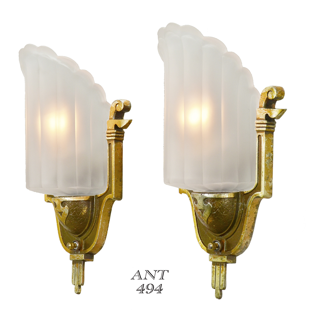 Art Deco Wall Sconce Light Fixtures : Antique Art Deco Wall Sconces by Mid-West Circa 1935 Slip Shade Lights (ANT-494) For Sale ...