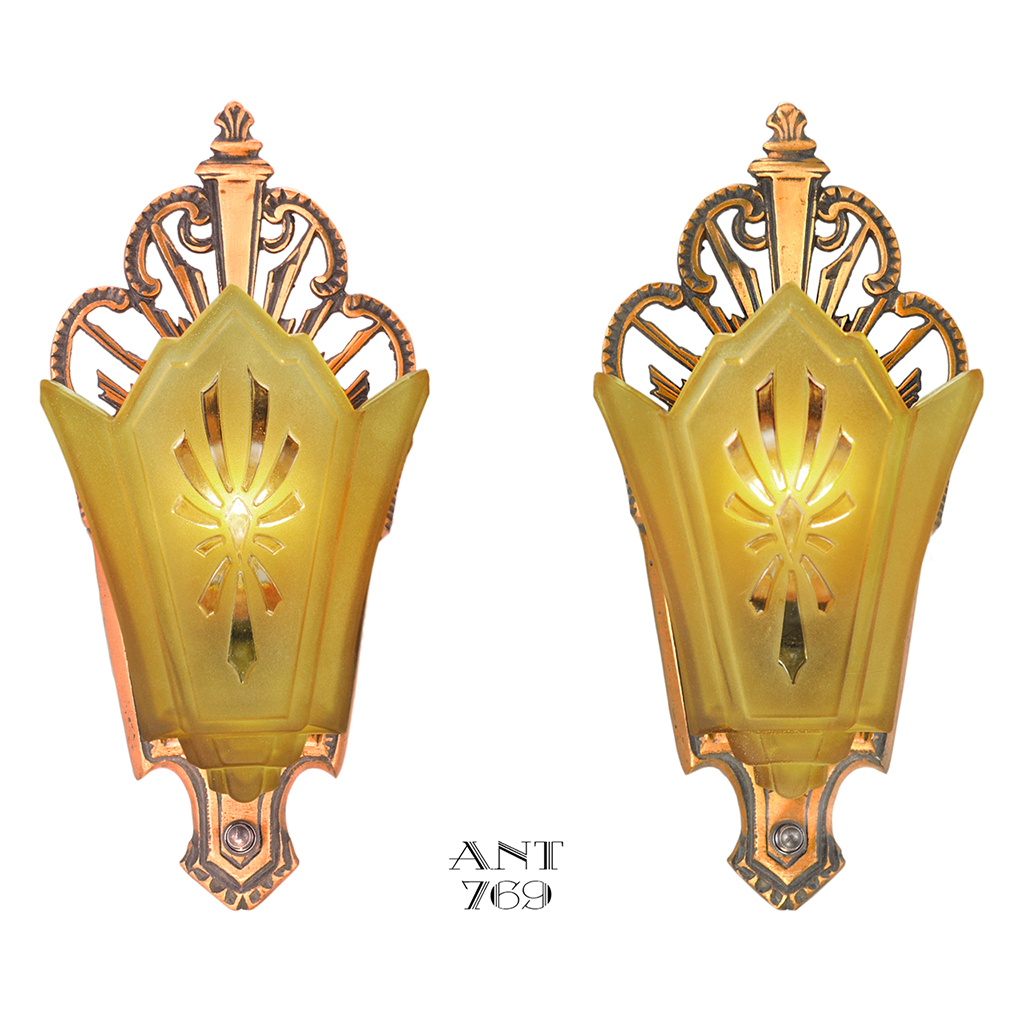 Art Deco Antique Wall Sconces Slip Shade Red Bronze Lights Fixtures (ANT-769) For Sale ...
