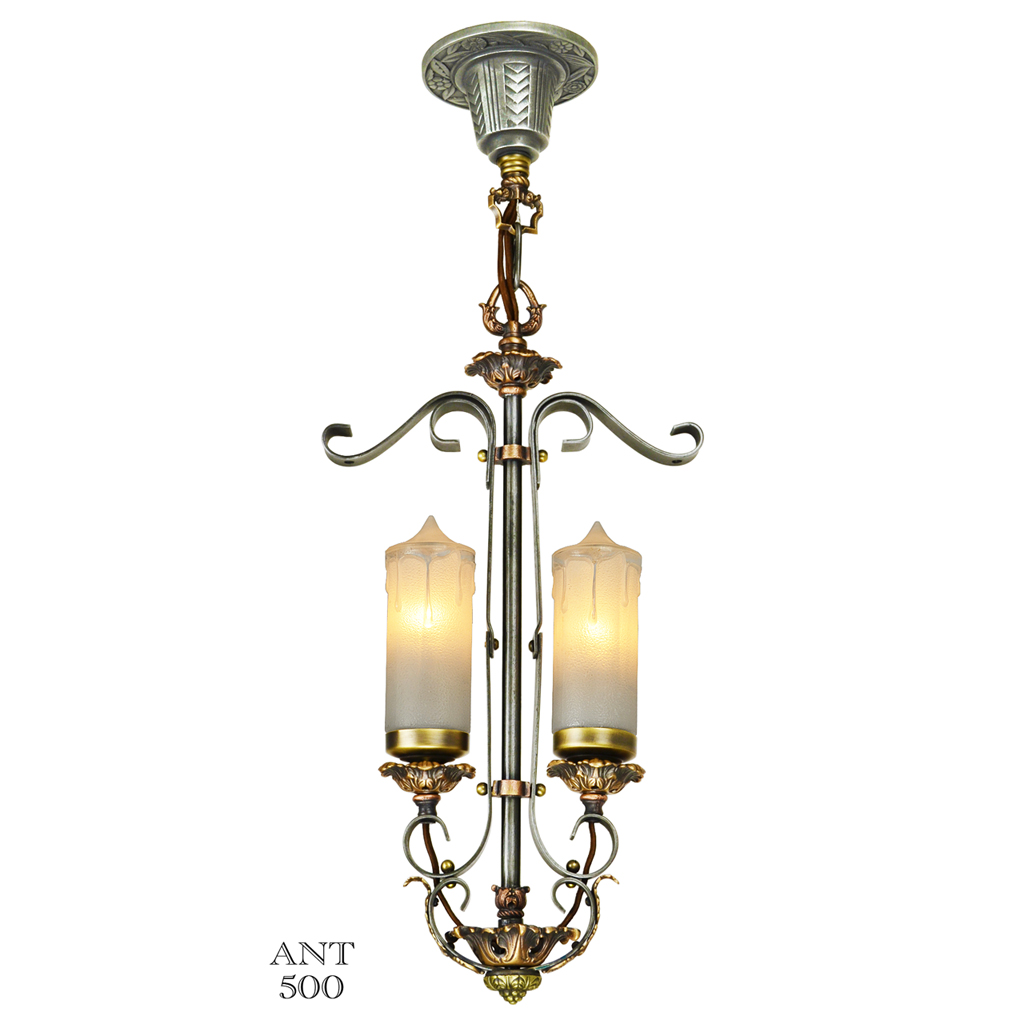 1920s art deco candle style 2 light antique pendant for Antique pendant light fixtures
