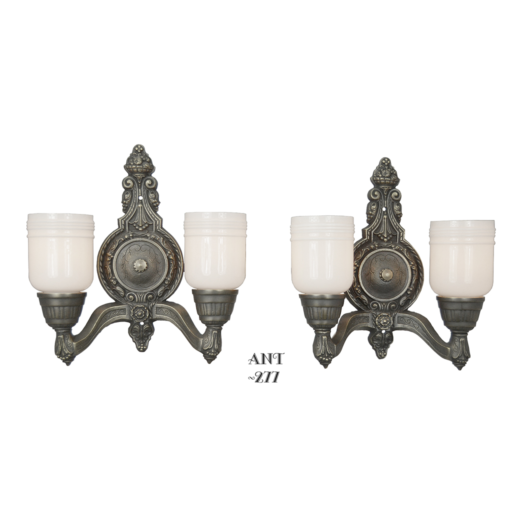 Lovely Pair of Double Wall Sconces, Circa 1920 (ANT-277) For Sale Antiques.com Classifieds