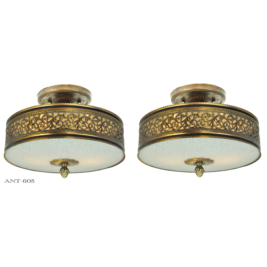 vintage semi flush mount ceiling lights pair of drum shade. Black Bedroom Furniture Sets. Home Design Ideas
