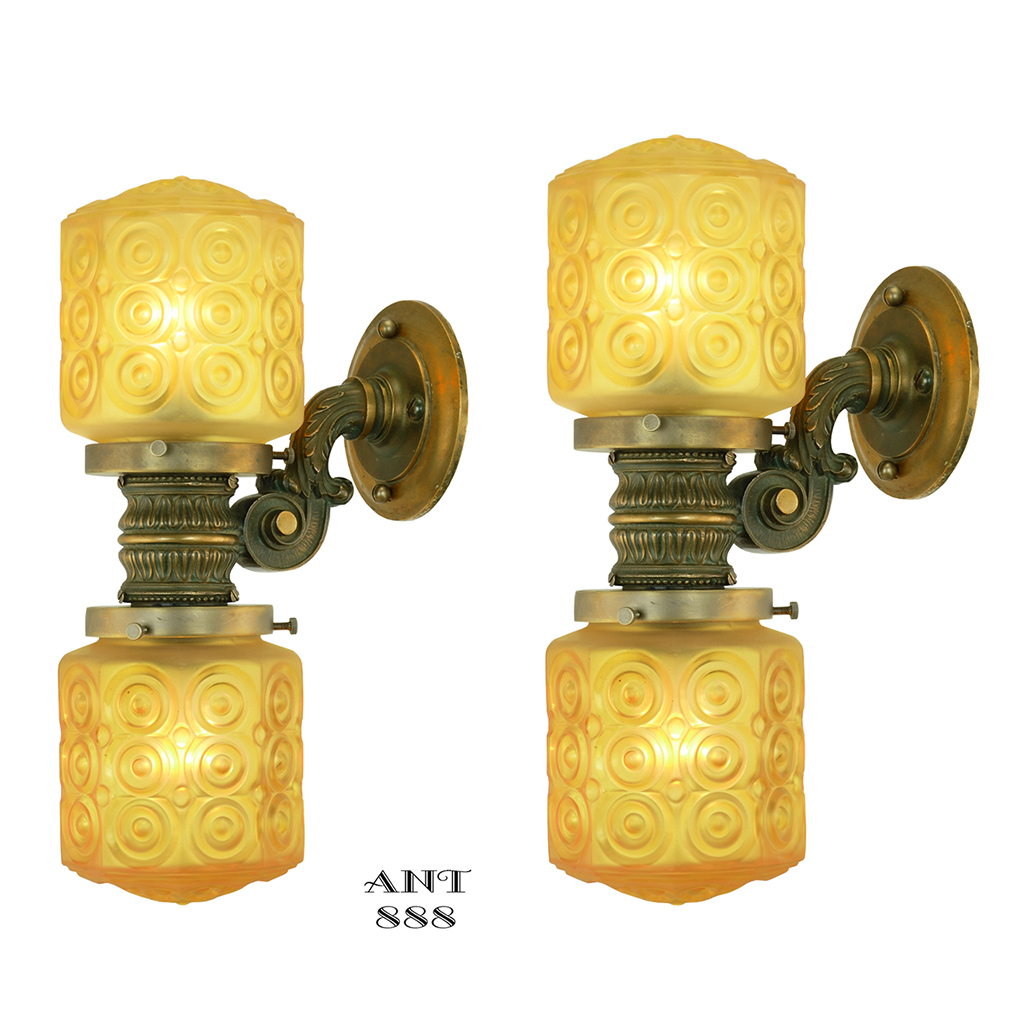 pair of antique elevator wall sconces edwardian style lights