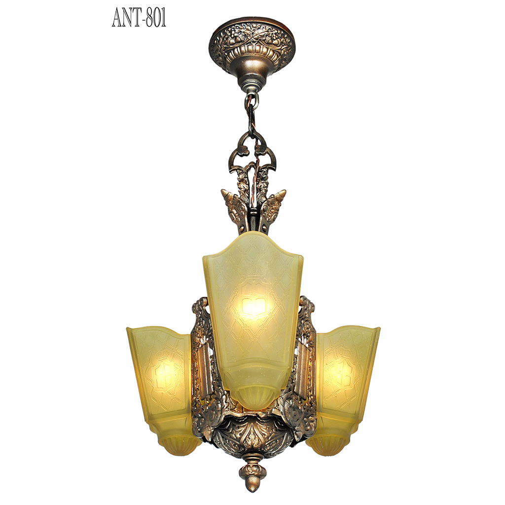 art deco chandelier 3 slip shade antique ceiling light by. Black Bedroom Furniture Sets. Home Design Ideas