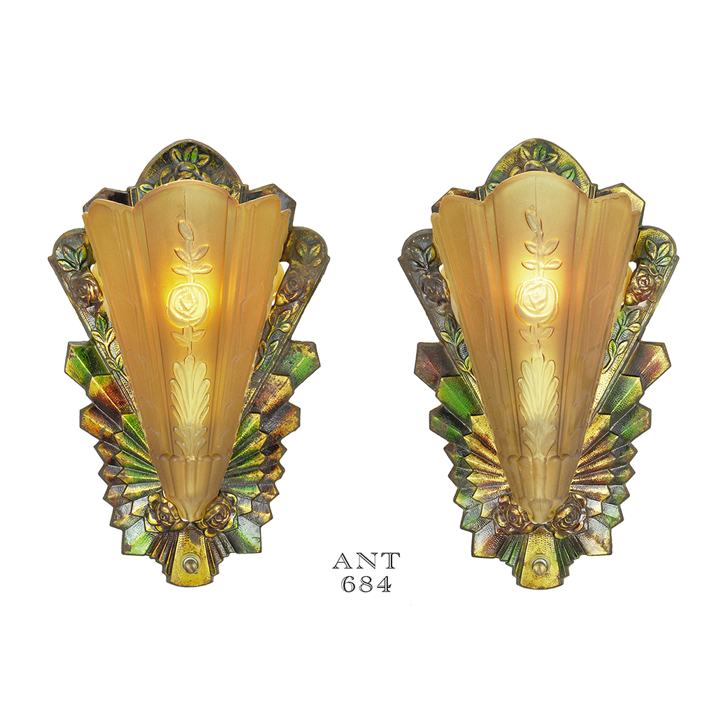 art deco pair antique polychrome wall sconces frankelite 1930s lights ant 684 for sale. Black Bedroom Furniture Sets. Home Design Ideas