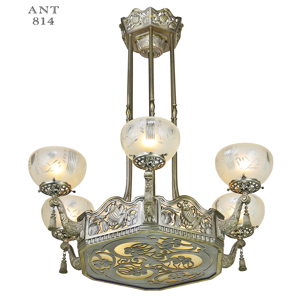 Art Nouveau Or Deco French Chandelier Antique Ceiling