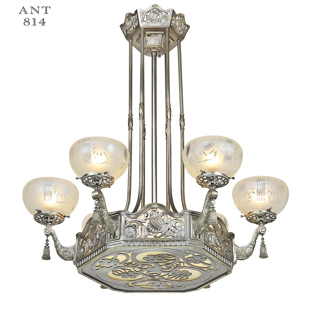 Art Nouveau Or Deco French Chandelier Antique Ceiling