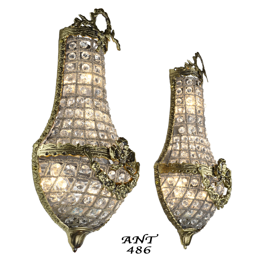 Antique French Basket Style Crystal Wall Sconce Lights - Pair (ANT-486) For Sale Antiques.com ...