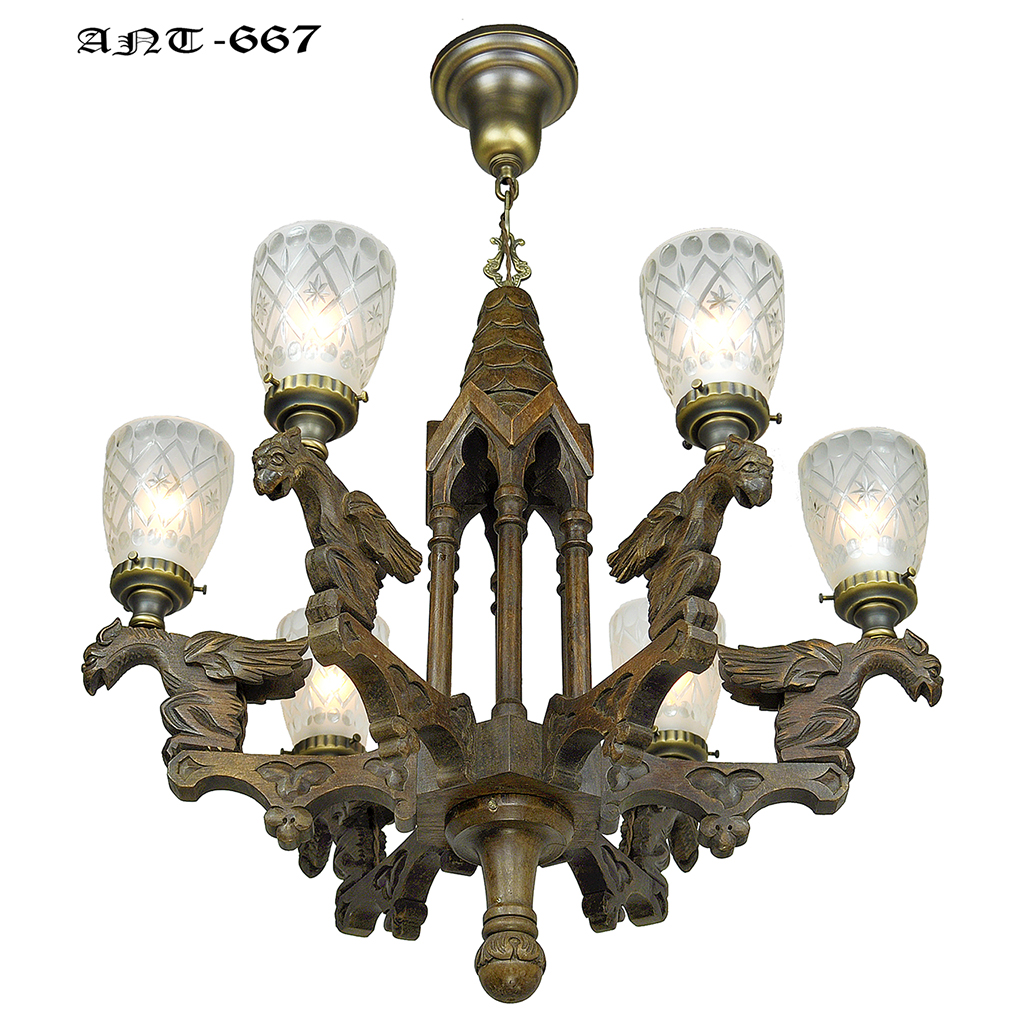 Victorian Gothic Renaissance Revival Griffin Chandelier 6 Arm Light Ant 667 For