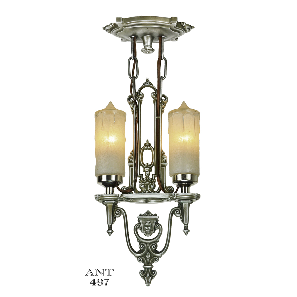 Art Deco Antique Candle Style Ceiling Pendant Light By