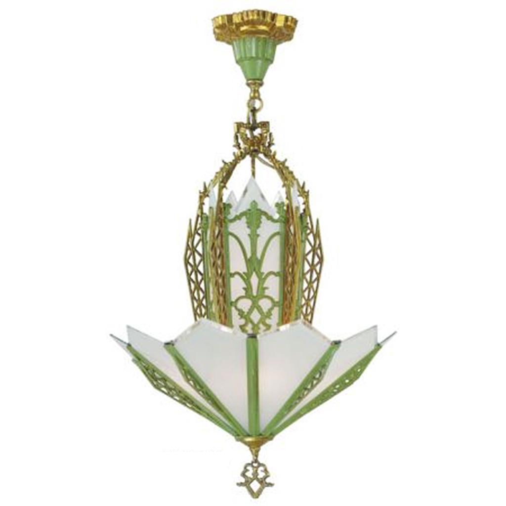 Art deco chandelier antique circa 1935 green gold frame beveled art deco chandelier antique circa 1935 green gold frame beveled flat glass ant 424 for sale arubaitofo Images