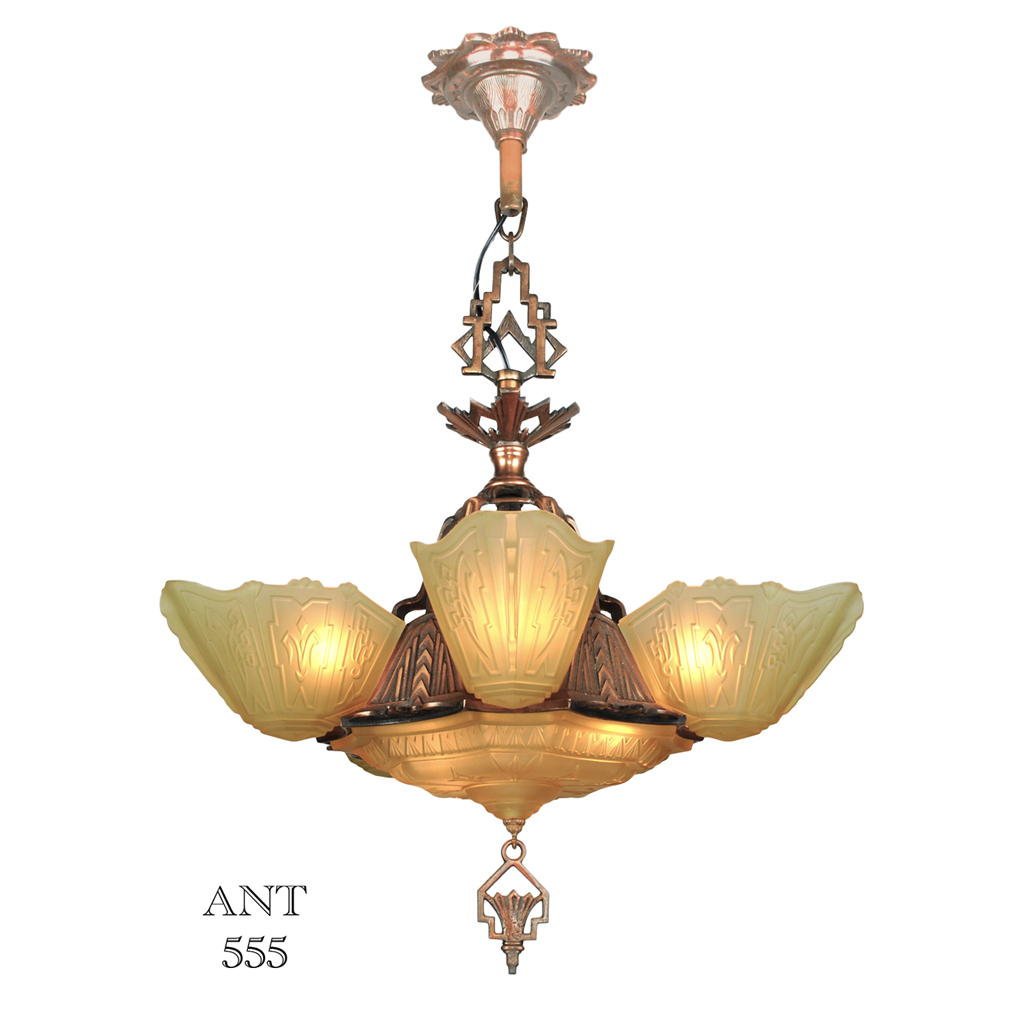 Art Deco Antique 1930s Chandelier With Slip Shades By
