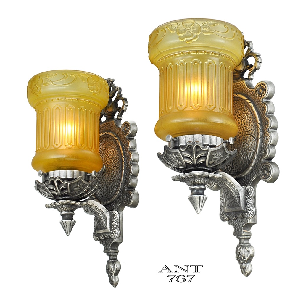 Edwardian Pair Wall Sconces Antique Light Fixtures with Amber Shades (ANT-767) For Sale ...