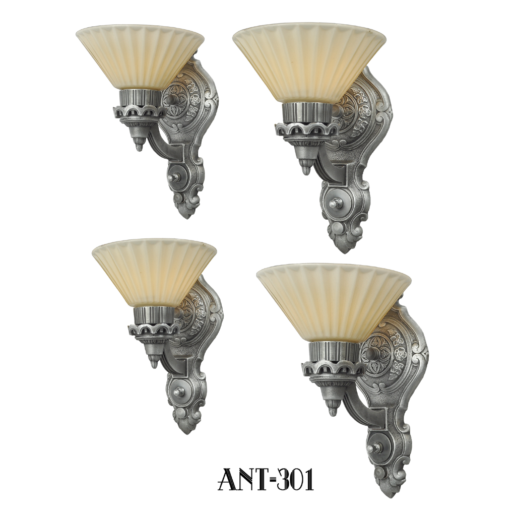 art deco style antique wall sconces circa 1920 set of four ant 301 for sale. Black Bedroom Furniture Sets. Home Design Ideas