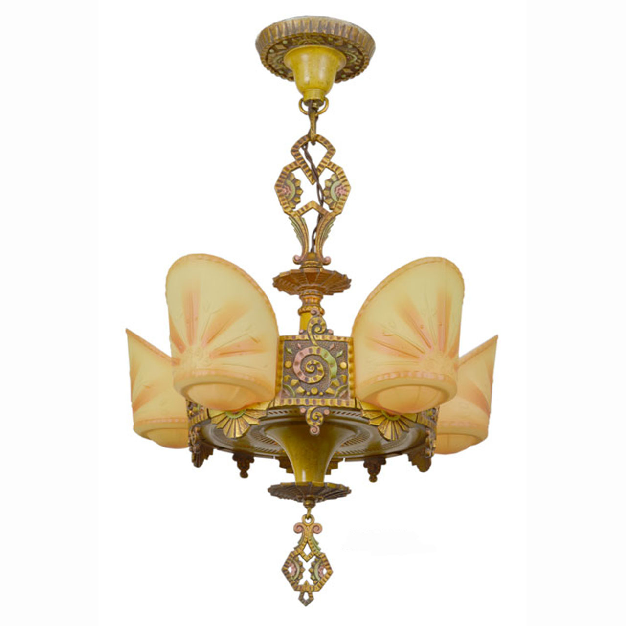 Antique 5 Light Art Deco Slip Shade Chandelier By