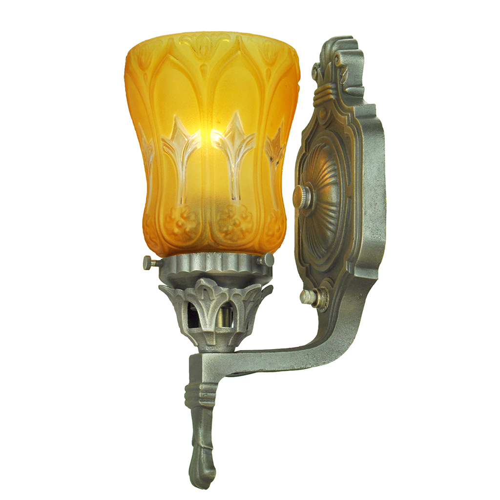 Antique Wall Sconces Pair of Edwardian Style Lights with Amber Shades (ANT-693) For Sale ...