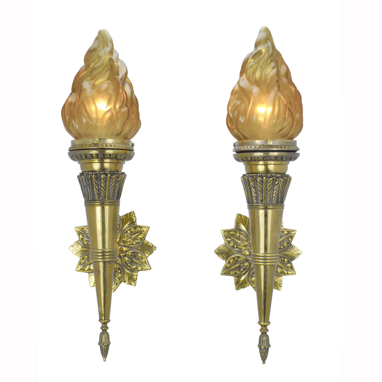 Pair of Antique Torch Sconces with Flame Shades (ANT-399) For Sale Antiques.com Classifieds