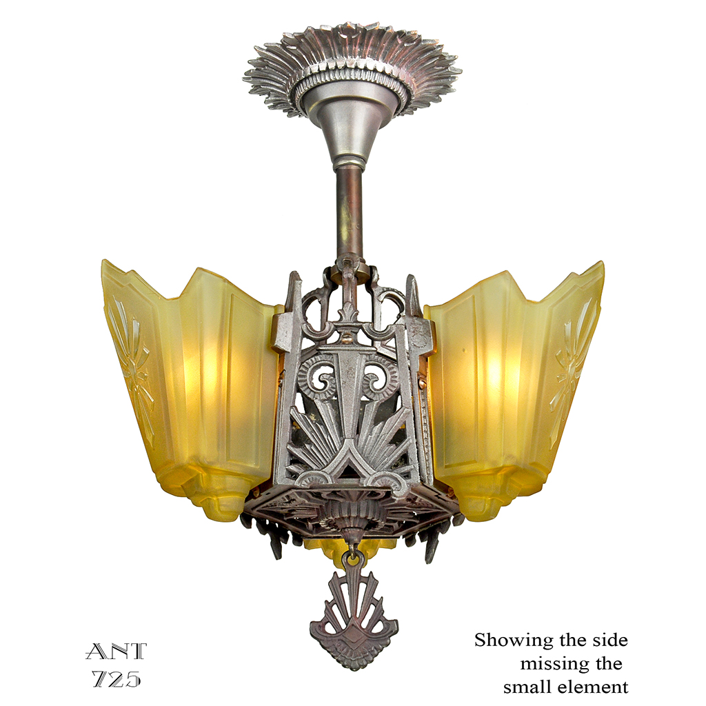 art deco chandelier 3 slip shade antique ceiling light. Black Bedroom Furniture Sets. Home Design Ideas