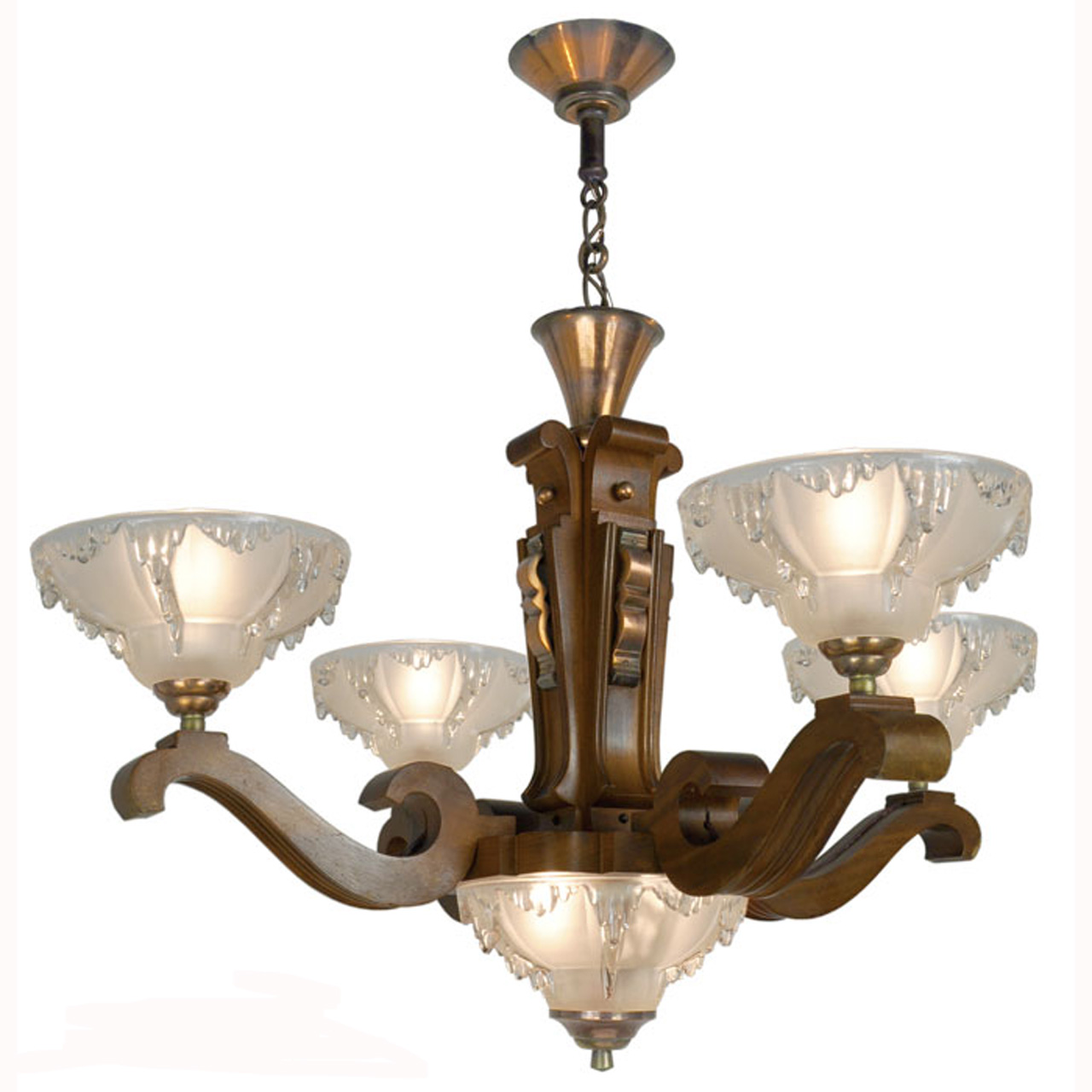 art deco french ezan style icicle chandelier with 4 arm wooden body ant 389 for sale. Black Bedroom Furniture Sets. Home Design Ideas