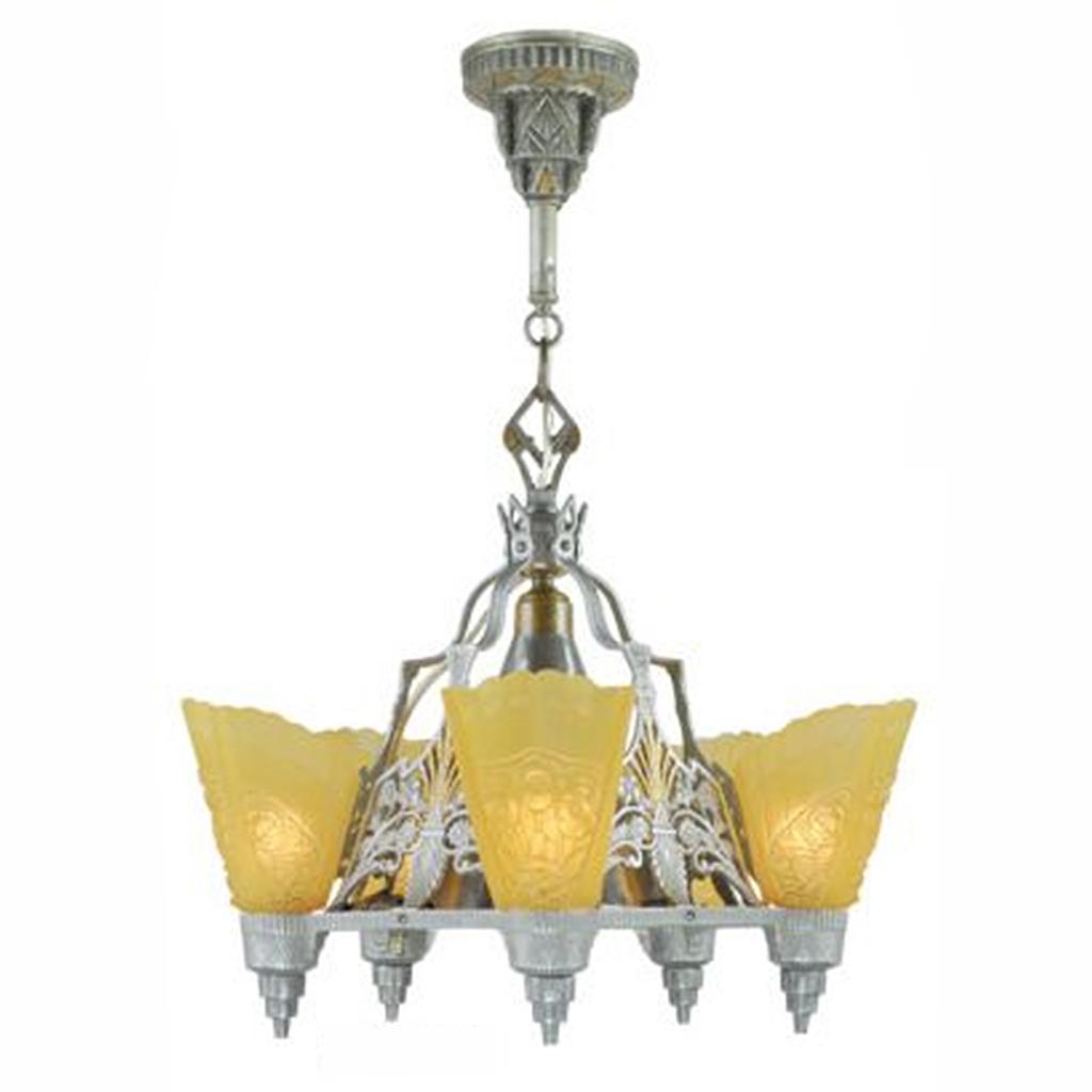 Antique Art Deco Slip Shade Chandelier Circa 1935 Ceiling