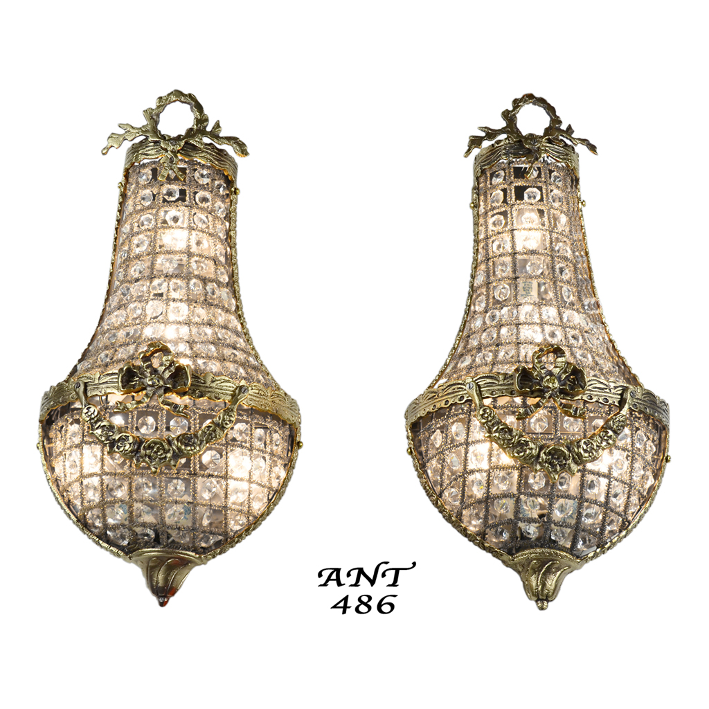 Wall Sconces Antique Style : Antique French Basket Style Crystal Wall Sconce Lights - Pair (ANT-486) For Sale Antiques.com ...