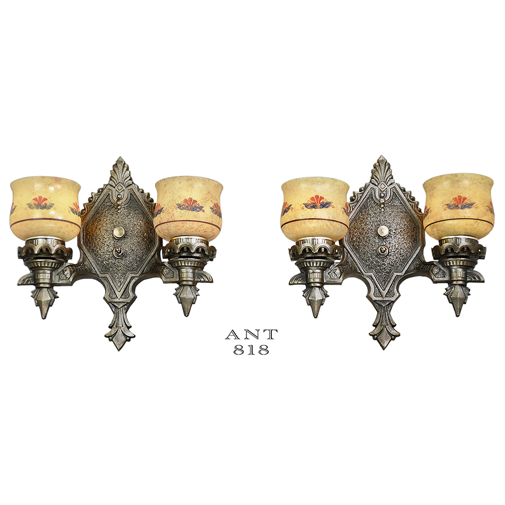 Pair of antique wall sconces double arm 1920s rewired light fixtures pair of antique wall sconces double arm 1920s rewired light fixtures ant 818 for sale arubaitofo Gallery