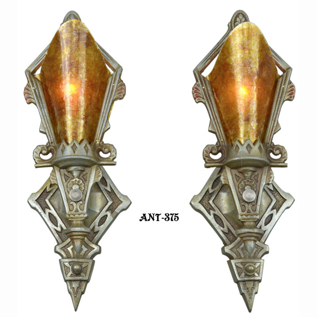 pair of antique restored art deco wall sconces lights lighting